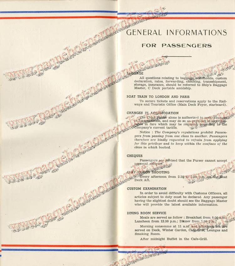 S.S NORMANDIE - LISTE PASSAGERS DU 27 JUILLET 1938 - 1ère CLASSE / 1-3