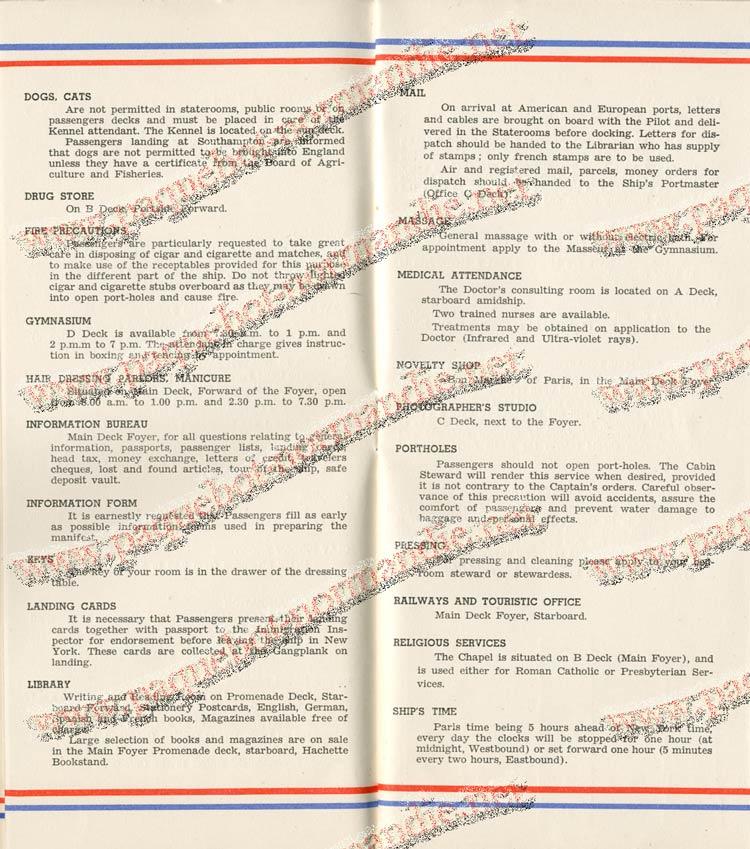 S.S NORMANDIE - LISTE PASSAGERS DU 27 JUILLET 1938 - 1ère CLASSE / 1-4