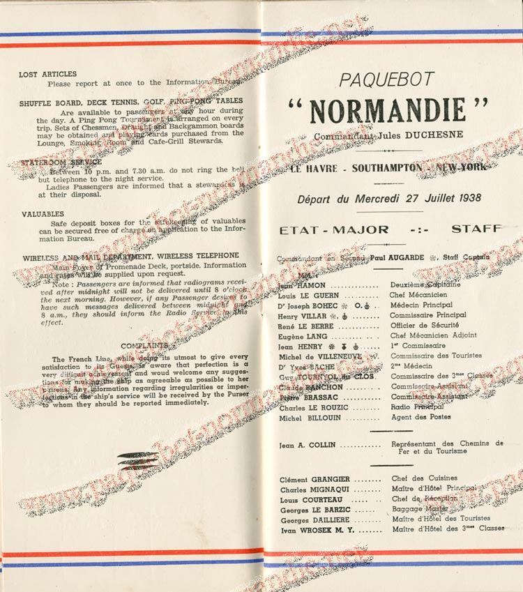 S.S NORMANDIE - LISTE PASSAGERS DU 27 JUILLET 1938 - 1ère CLASSE / 1-5