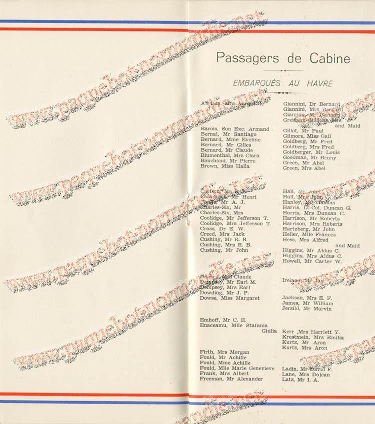 S.S NORMANDIE - LISTE PASSAGERS DU 27 JUILLET 1938 - 1ère CLASSE / 1-6