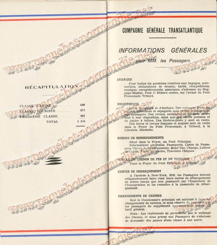 S.S NORMANDIE - LISTE PASSAGERS DU 27 JUILLET 1938 - 1ère CLASSE / 1-9