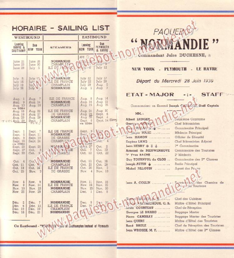 Paquebot s/s Normandie - LISTE PASSAGERS 28.06.39 / 2-2