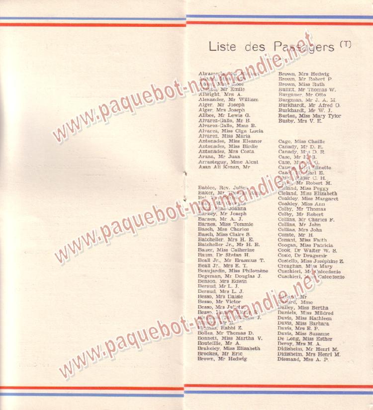 Paquebot s/s Normandie - LISTE PASSAGERS 28.06.39 / 2-3