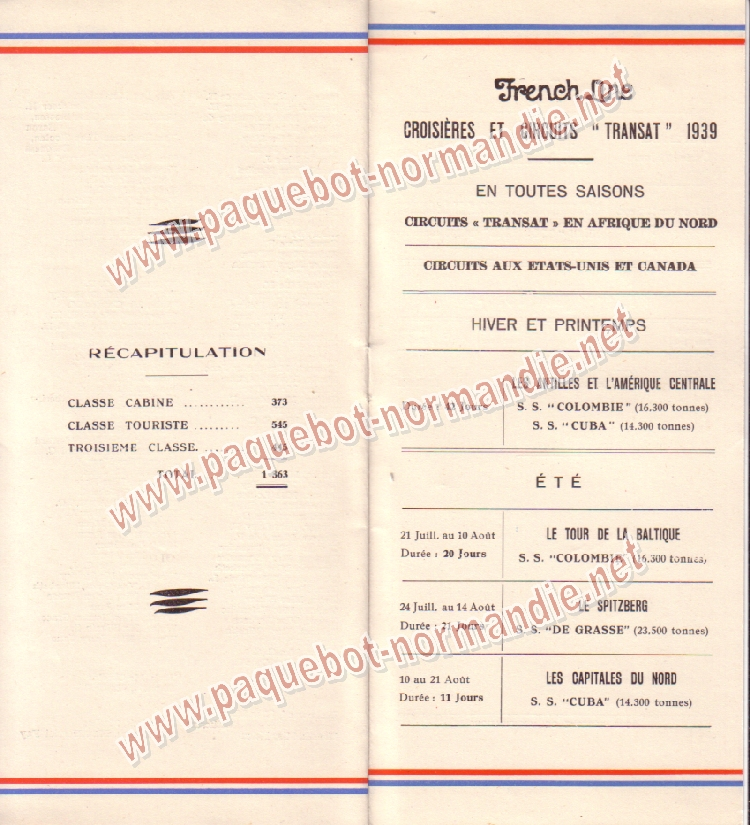 Paquebot s/s Normandie - LISTE PASSAGERS 28.06.39 / 2-6