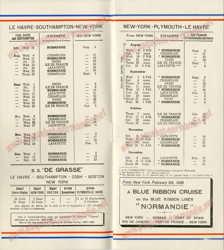 S.S NORMANDIE - LISTE PASSAGERS DU 28 Juillet 1937 - CLASSE TOURISTE / 2-2