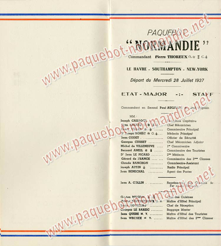 S.S NORMANDIE - LISTE PASSAGERS DU 28 Juillet 1937 - CLASSE TOURISTE / 2-3