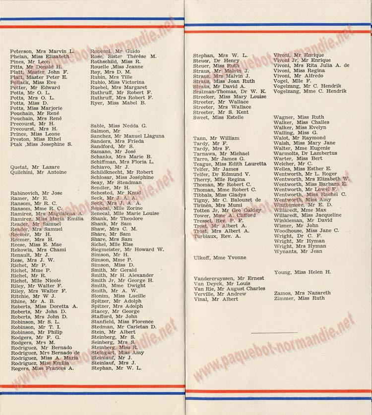 S.S NORMANDIE - LISTE PASSAGERS DU 28 Juillet 1937 - CLASSE TOURISTE / 2-6