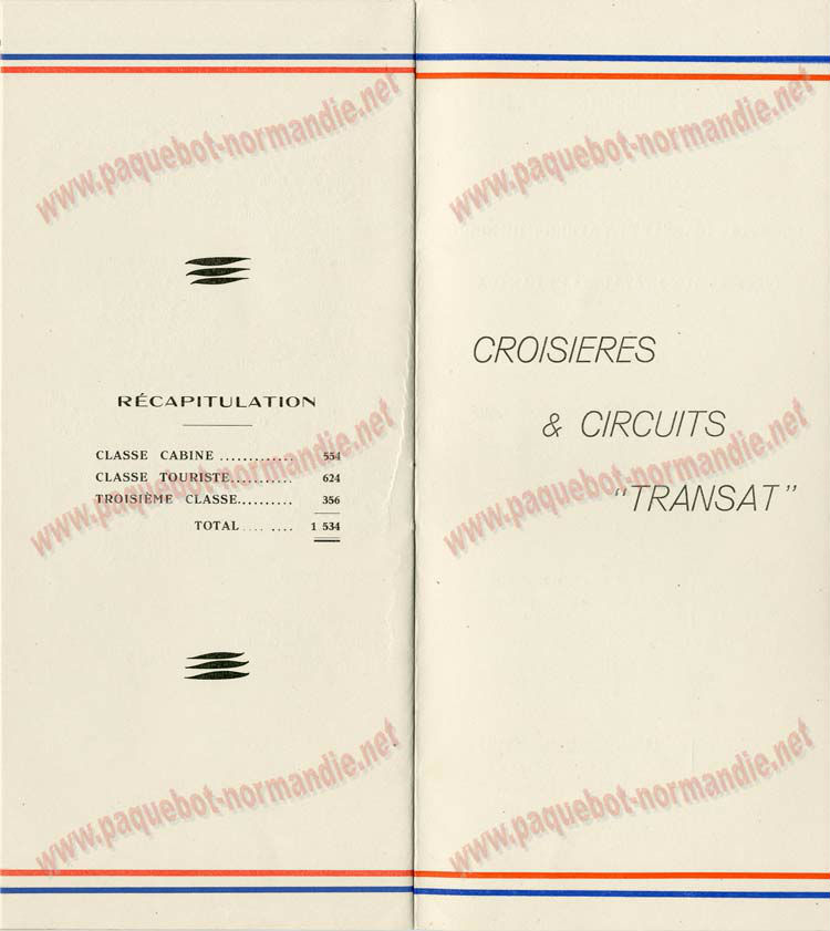 S.S NORMANDIE - LISTE PASSAGERS DU 28 Juillet 1937 - CLASSE TOURISTE / 2-7
