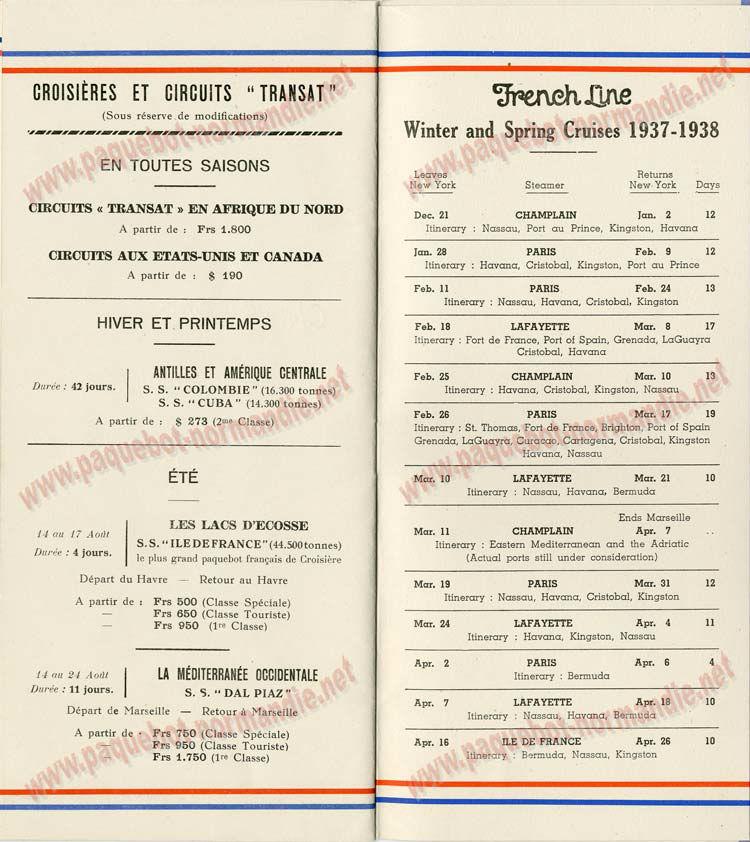 S.S NORMANDIE - LISTE PASSAGERS DU 28 Juillet 1937 - CLASSE TOURISTE / 2-8