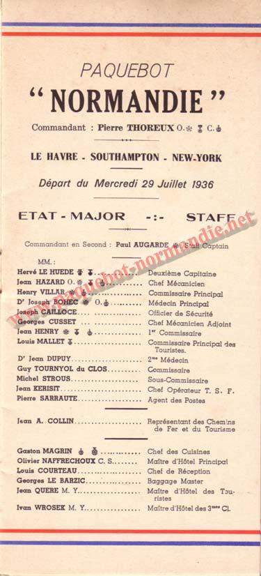 LISTE PASSAGERS DU 29 JUILLET 1936 / 1-1