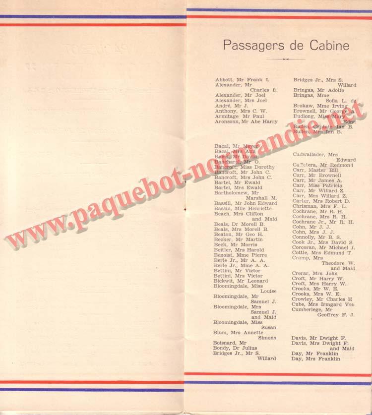 LISTE PASSAGERS DU 29 JUILLET 1936 / 1-2