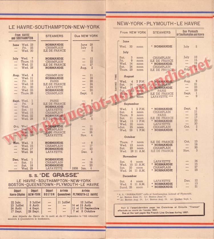 PAQUEBOT NORMANDIE - LISTE PASSAGERS DU 30 JUIN 1937 - 1ère CLASSE / 1-2