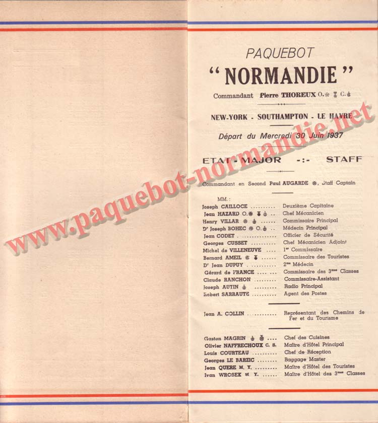 PAQUEBOT NORMANDIE - LISTE PASSAGERS DU 30 JUIN 1937 - 1ère CLASSE / 1-3