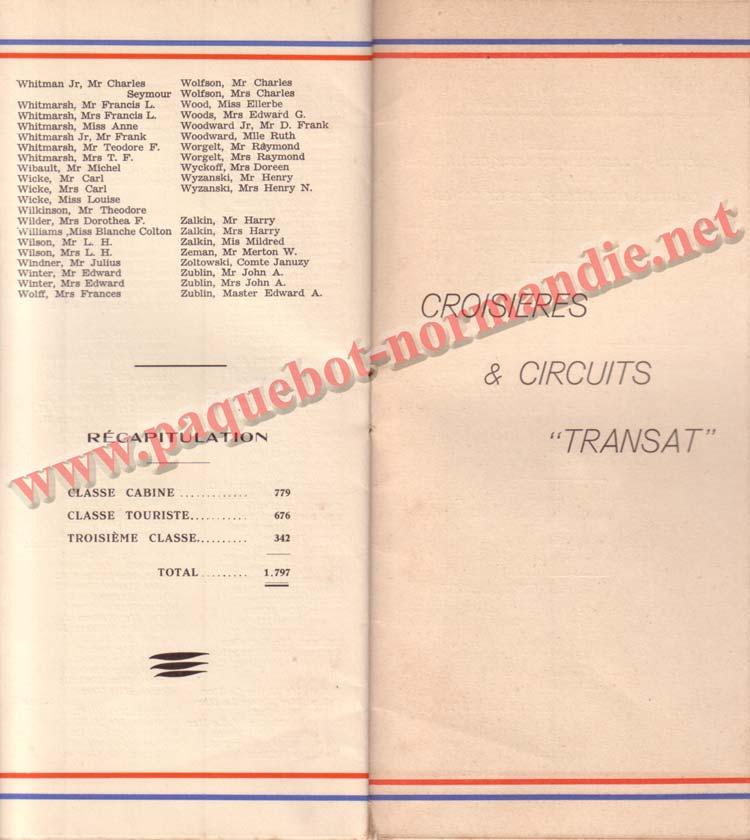 PAQUEBOT NORMANDIE - LISTE PASSAGERS DU 30 JUIN 1937 - 1ère CLASSE / 1-7