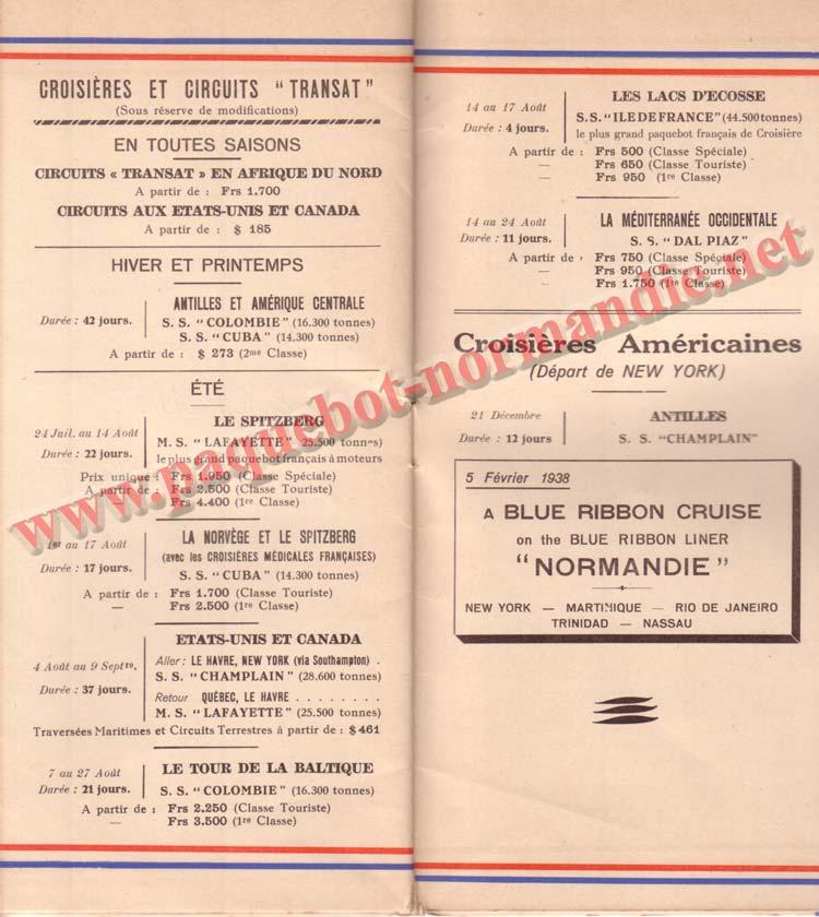 PAQUEBOT NORMANDIE - LISTE PASSAGERS DU 30 JUIN 1937 - 1ère CLASSE / 1-8