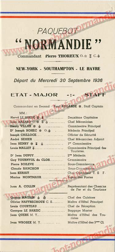 Paquebot s/s Normandie - LISTE PASSAGERS 30.09.36 / 2-2