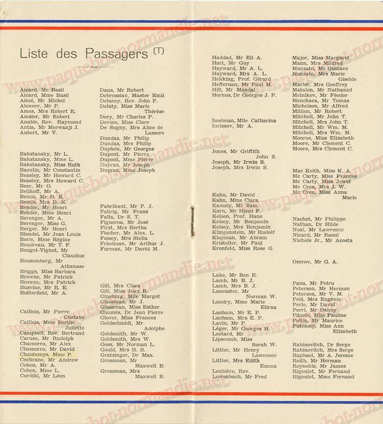 Paquebot s/s Normandie - LISTE PASSAGERS 30.09.36 / 2-3