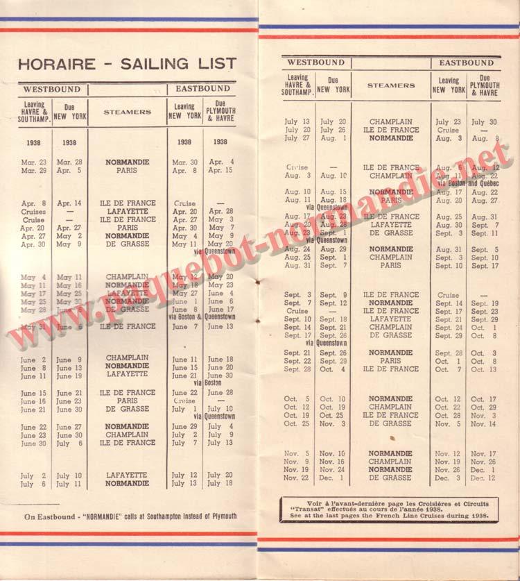 PAQUEBOT NORMANDIE - LISTE DES PASSAGERS DU 31 MARS 1938 - 1ère CLASSE / 1-2