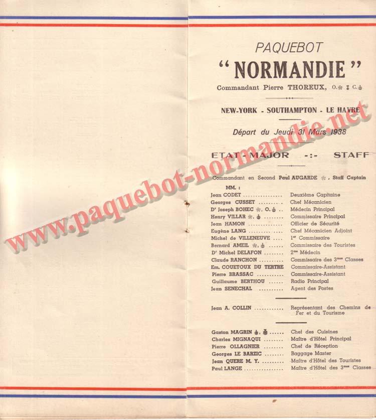 PAQUEBOT NORMANDIE - LISTE DES PASSAGERS DU 31 MARS 1938 - 1ère CLASSE / 1-3
