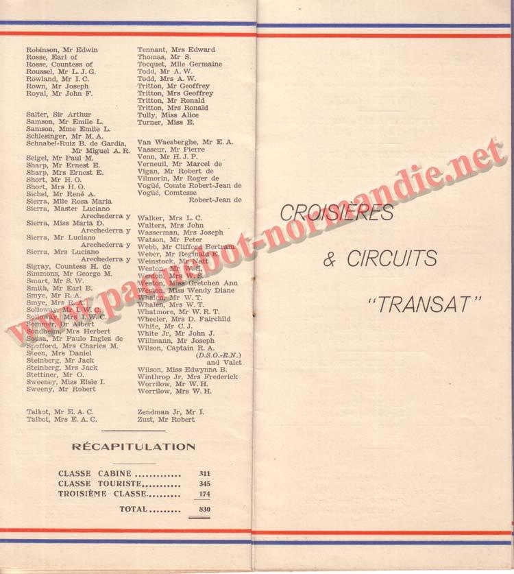 PAQUEBOT NORMANDIE - LISTE DES PASSAGERS DU 31 MARS 1938 - 1ère CLASSE / 1-5