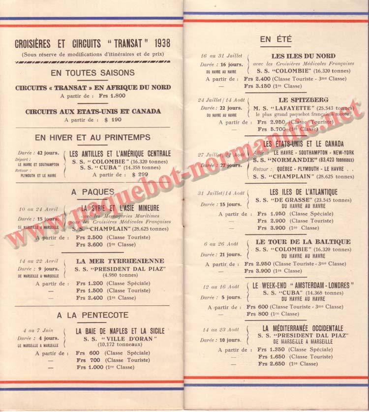 PAQUEBOT NORMANDIE - LISTE DES PASSAGERS DU 31 MARS 1938 - 1ère CLASSE / 1-6