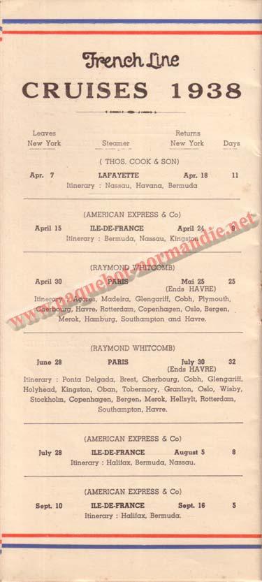 PAQUEBOT NORMANDIE - LISTE DES PASSAGERS DU 31 MARS 1938 - 1ère CLASSE / 1-7