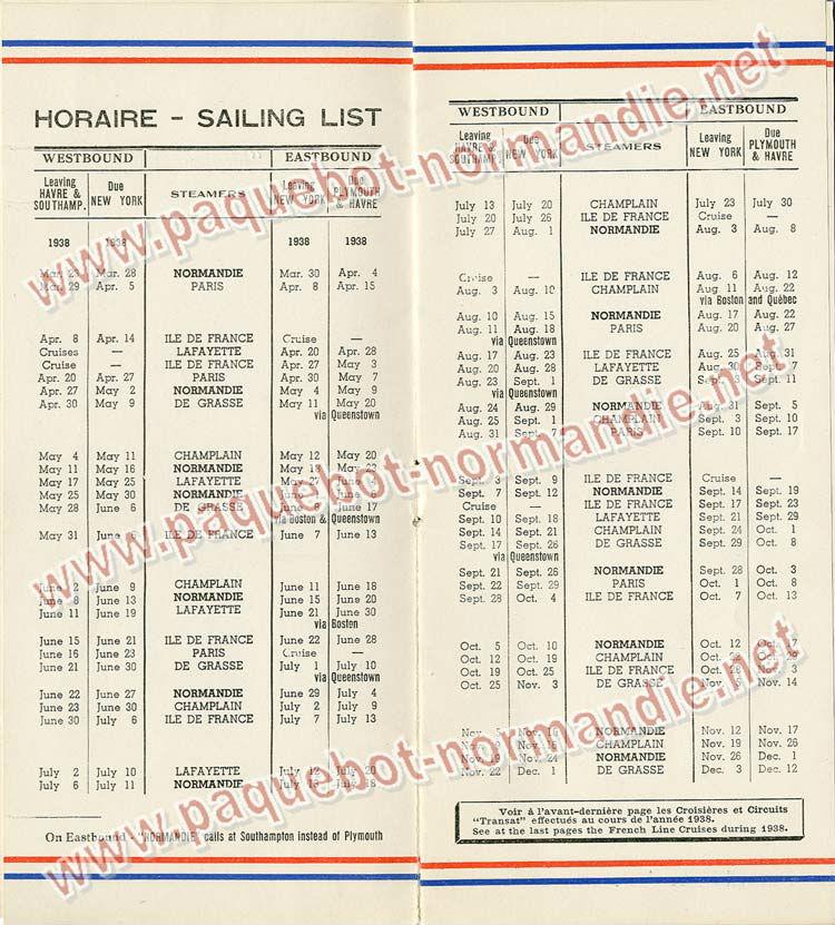 S.S NORMANDIE - LISTE PASSAGERS DU 31 MARS 1938 - 2ème CLASSE / 2-2