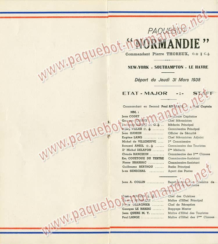 S.S NORMANDIE - LISTE PASSAGERS DU 31 MARS 1938 - 2ème CLASSE / 2-3