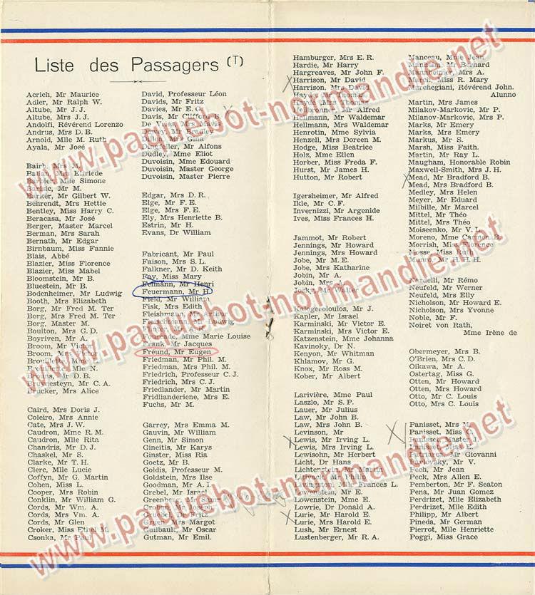 S.S NORMANDIE - LISTE PASSAGERS DU 31 MARS 1938 - 2ème CLASSE / 2-4