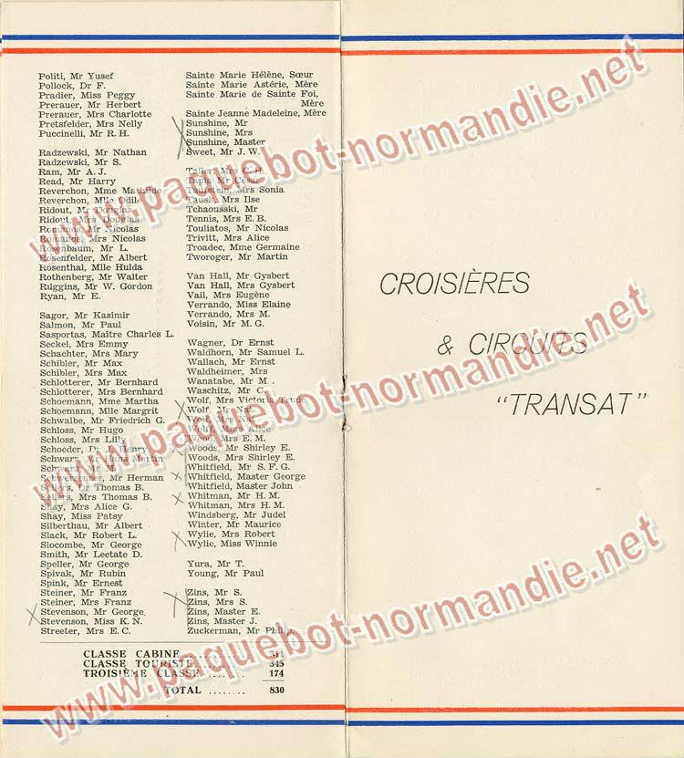 S.S NORMANDIE - LISTE PASSAGERS DU 31 MARS 1938 - 2ème CLASSE / 2-5