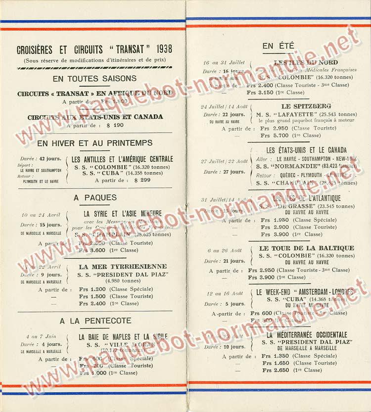 S.S NORMANDIE - LISTE PASSAGERS DU 31 MARS 1938 - 2ème CLASSE / 2-6
