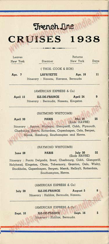 S.S NORMANDIE - LISTE PASSAGERS DU 31 MARS 1938 - 2ème CLASSE / 2-7