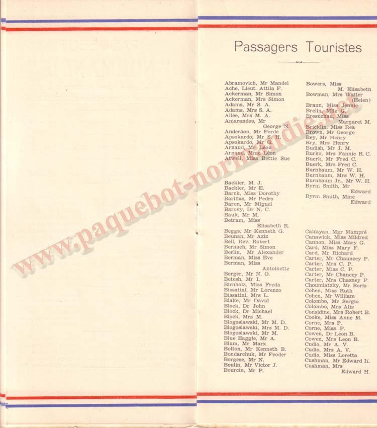 LISTE PASSAGERS 29.05.35 / 2-4