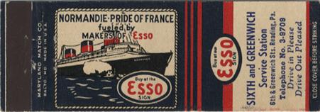 Paquebot Normandie - Pochette d`allumettes ESSO U.S.A
