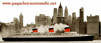 S.S NORMANDIE DEVANT LA SKYLINE DE NEW YORK