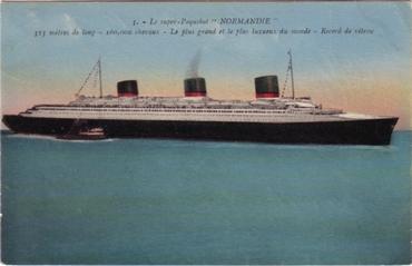 S.S NORMANDIE - Carte postale couleurs classique Edition NOZAIS - Réf. 1-3 Recto