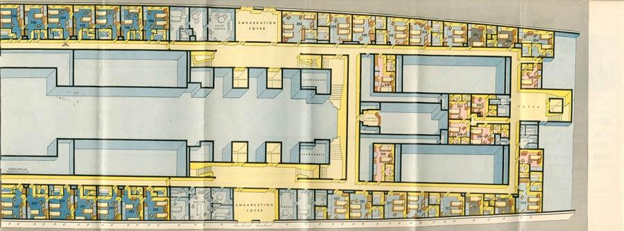 PAQUEBOT S.S NORMANDIE - PLAN ISOMETRIQUE 1ère CLASSE COULEURS JANVIER 1937 - PONT A DROITE