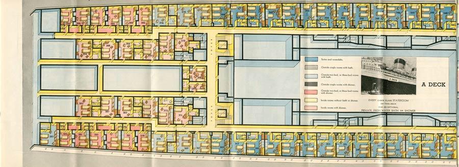 PAQUEBOT S.S NORMANDIE - PLAN ISOMETRIQUE 1ère CLASSE COULEURS JANVIER 1937 - PONT A GAUCHE