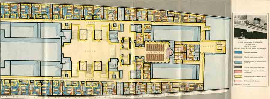 PAQUEBOT S.S NORMANDIE - PLAN ISOMETRIQUE 1ère CLASSE COULEURS JANVIER 1937 - PONT B DROITE