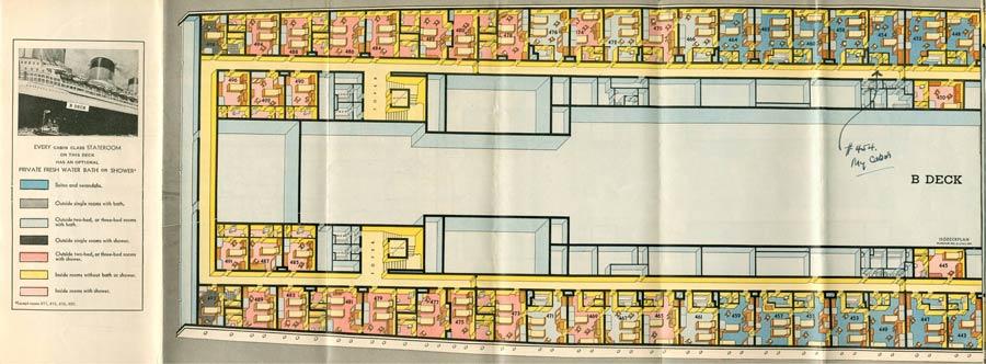 PAQUEBOT S.S NORMANDIE - PLAN ISOMETRIQUE 1ère CLASSE COULEURS JANVIER 1937 - PONT B GAUCHE