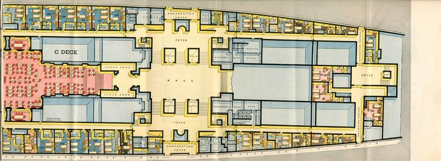 PAQUEBOT S.S NORMANDIE - PLAN ISOMETRIQUE 1ère CLASSE COULEURS JANVIER 1937 - PONT C DROITE