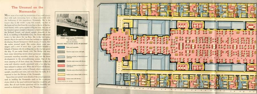 PAQUEBOT S.S NORMANDIE - PLAN ISOMETRIQUE 1ère CLASSE COULEURS JANVIER 1937 - PONT C GAUCHE