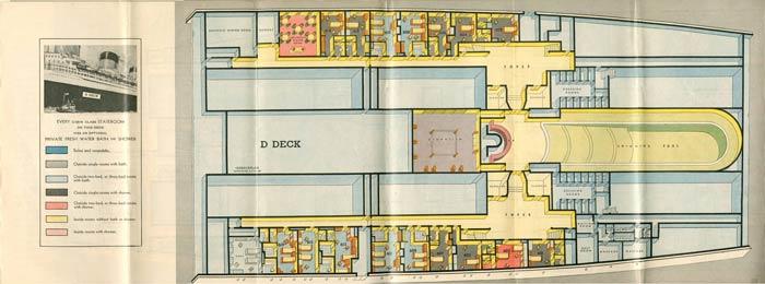 PAQUEBOT S.S NORMANDIE - PLAN ISOMETRIQUE 1ère CLASSE COULEURS JANVIER 1937 - PONT D