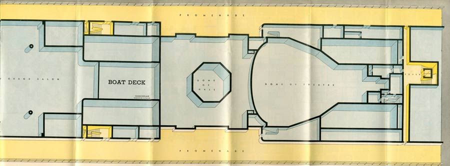PAQUEBOT S.S NORMANDIE - PLAN ISOMETRIQUE 1ère CLASSE COULEURS JANVIER 1937 - PONT DES EMBARCATIONS DROITE
