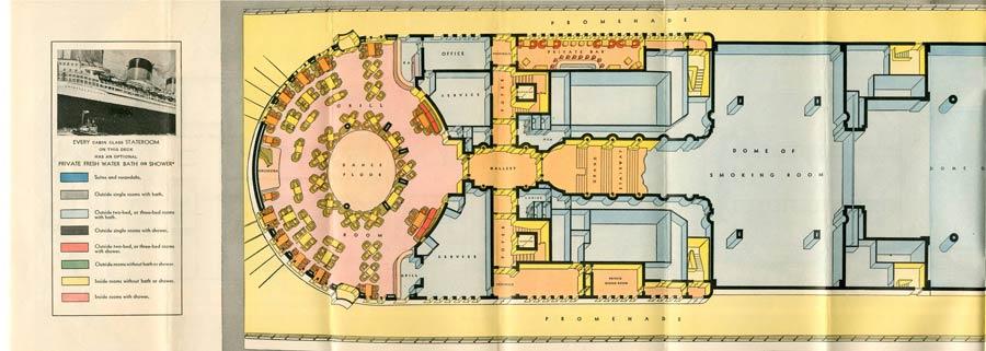 PAQUEBOT S.S NORMANDIE - PLAN ISOMETRIQUE 1ère CLASSE COULEURS JANVIER 1937 - PONT DES EMBARCATIONS GAUCHE