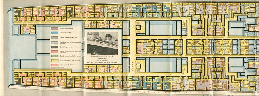 PAQUEBOT S.S NORMANDIE - PLAN ISOMETRIQUE 1ère CLASSE COULEURS JANVIER 1937 - PONT PRINCIPAL GAUCHE