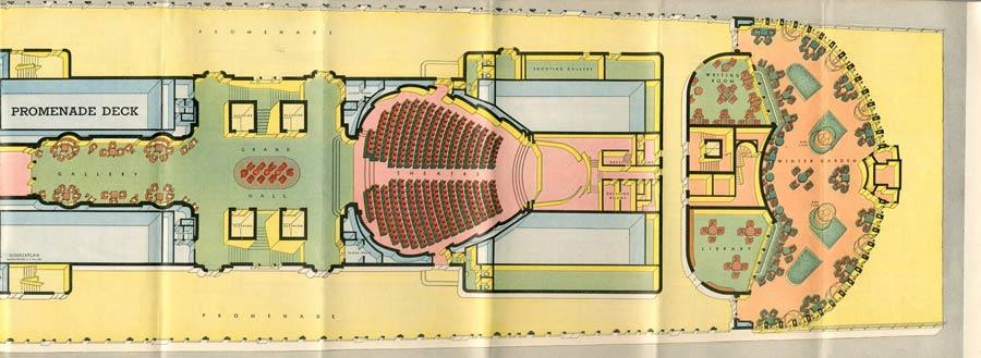 PAQUEBOT S.S NORMANDIE - PLAN ISOMETRIQUE 1ère CLASSE COULEURS JANVIER 1937 - PONT PROMENADE DROITE