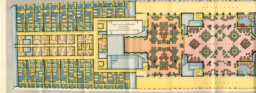 PAQUEBOT S.S NORMANDIE - PLAN ISOMETRIQUE 1ère CLASSE COULEURS JANVIER 1937 - PONT PROMENADE GAUCHE