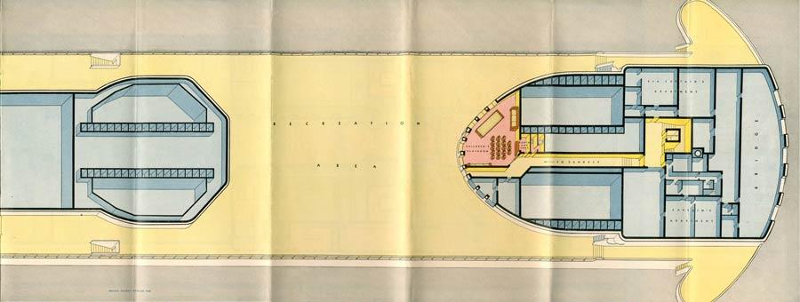 PAQUEBOT S.S NORMANDIE - PLAN ISOMETRIQUE 1ère CLASSE COULEURS JANVIER 1937 - SUNDECK DROITE