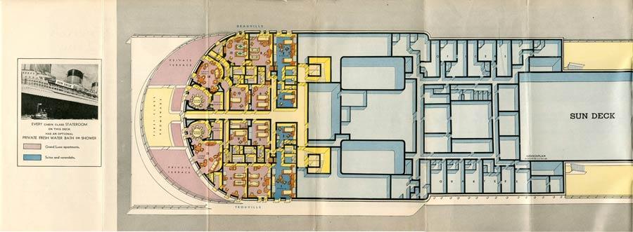 PAQUEBOT S.S NORMANDIE - PLAN ISOMETRIQUE 1ère CLASSE COULEURS JANVIER 1937 - SUNDECK GAUCHE